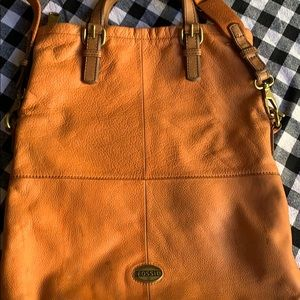 Fossil leather tote purse bag